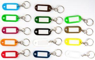 Confezione 10 pz Targhette Portachiavi in plastica colorata